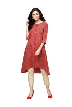 Juniper Red Cotton Printed Kurti & Cigarette Pants - Mp000000003944937