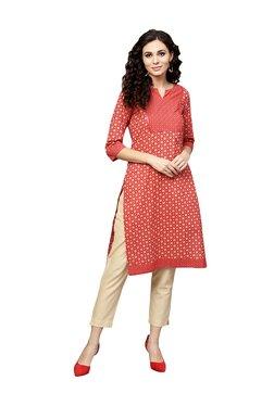 Juniper Red Cotton Printed Kurti & Cigarette Pants - Mp000000003944977