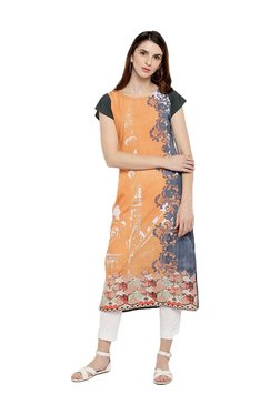 Trend Factory Orange & Grey Digital Printed Kurti