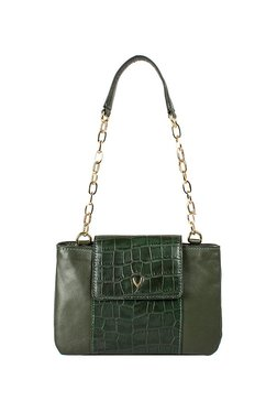Hidesign Aquarius 01 Olive Green Textured Shoulder Bag