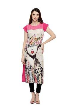 Trend Factory Grey & Pink Digital Printed Kurti