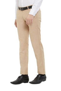 Easies By Killer Beige Slim Fit Flat Front Trousers
