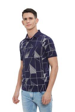 Easies By Killer Navy Printed Half Sleeves Polo T-shirt