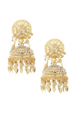ee27526bb Rubans Handcrafted Pearl White & Clear Alloy Jhumki Earrings