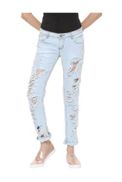 People Blue Distressed Slim Fit Jeans