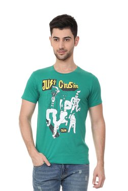 People Green Printed Crew Neck T-Shirt