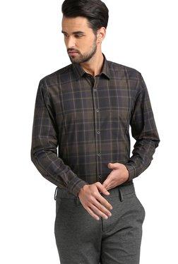 Peter England Black & Navy Slim Fit Checks Shirt