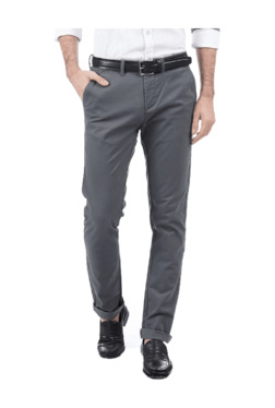 Pepe Jeans Grey Slim Fit Flat Front Trousers