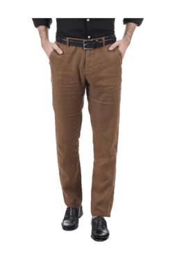 Pepe Jeans Brown Slim Fit Flat Front Trousers