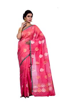 Bunkar Peach & Pink Printed Saree With Blouse