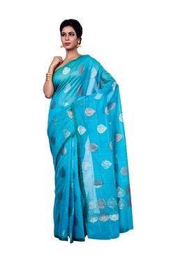 Bunkar Sky Blue Printed Saree With Blouse