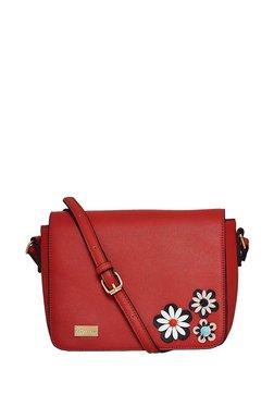 Satya Paul Red Floral Flap Sling Bag