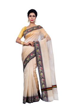 Bunkar Beige Textured Saree With Blouse
