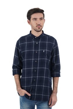 French Connection Navy Button Down Collar Cotton Shirt