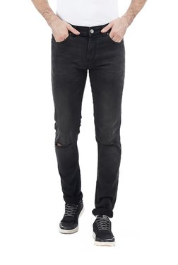 French Connection Black Slim Fit Distressed Jeans