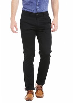 D'Cot By Donear Black Flat Front Slim Fit Solid Trousers