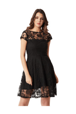 Miss Chase Black Embellished Above Knee Skater Dress