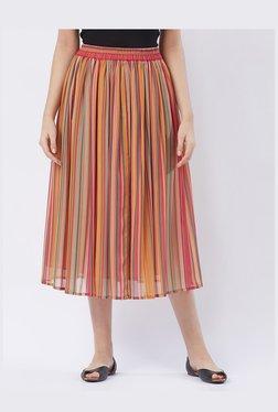 Fusion Beats Pink Striped Below Knee Skirt