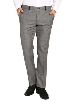 Blackberrys Grey Mid Rise Flat Front Printed Trousers