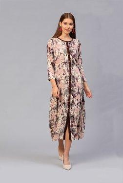 Athena Brown Printed Below Knee Shirt Dress