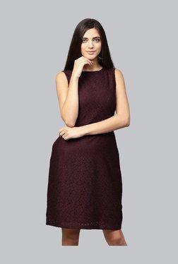 Athena Burgundy Lace Knee Length Dress