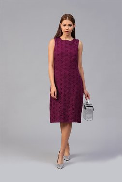Athena Burgundy Lace Below Knee Dress