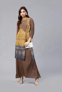 Athena Yellow & Brown Printed Maxi Dress With Jacket