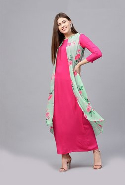 Athena Pink Floral Print Maxi Dress With Jacket