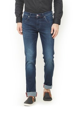 Integriti Navy Slim Fit Cotton Lightly Washed Solid Jeans