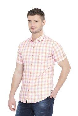 Mufti White & Pink Half Sleeves Checks Shirt