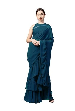 Inddus Teal Green Saree With Blouse