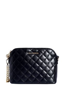 2f8fa28425b1 Lino Perros Black Textured Quilted Sling Bag