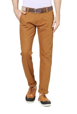 04e1cd5b041 People Brown Mid Rise Slim Fit Trousers