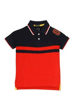 e3fc4067d32 Indian Terrain Kids Red Colorblock Polo T-Shirt