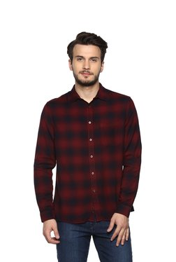 8d10b29667b celio  Maroon Regular Fit Check Shirt