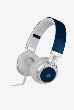 AT&T HPM10 Over-Ear Stereo Noise Cancelling Headphones with Built-In Microphone and Extra Bass- Blue