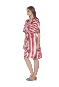 809bd8be83788e Zudio Red Striped Nola Shirtdress