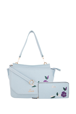 Lavie Landler Light Blue Floral Handbag with Wallet 09f177105568