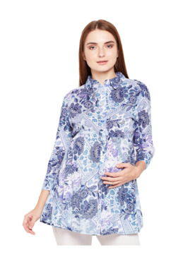 4ae87b721ca Oxolloxo Blue Floral Print Maternity Shirt