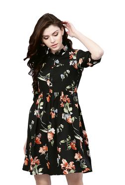 84aca3513222 Gerua Black Floral Print A-Line Dress