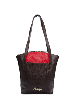 Hidesign Sb Sibyl 01 Dark Brown   Red Textured Leather Tote fcac39855d599