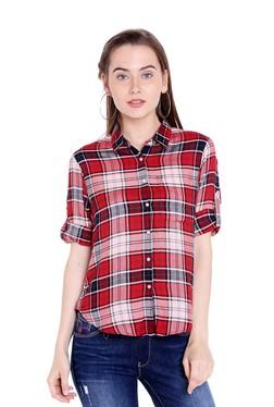 d10b8f35c6 Spykar Red Plaid Pattern Shirt