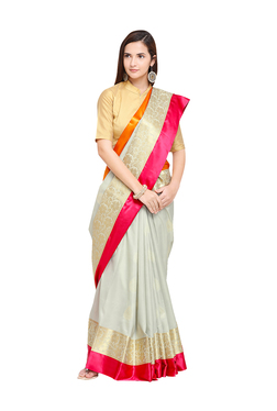 2cd860aaf9c17b Varkala Silk Sarees Off-White Woven Banarasi Saree With Blouse