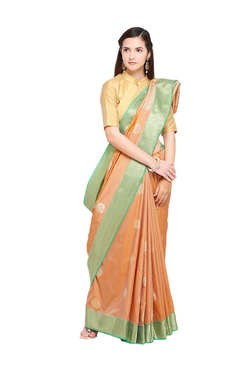 40d25f3ec1c289 Varkala Silk Sarees Peach Woven Banarasi Saree With Blouse