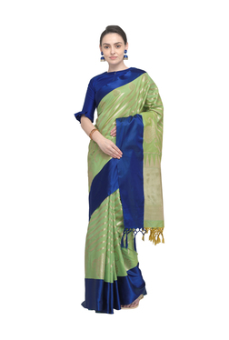 568f2e6583a437 Varkala Silk Sarees Green Woven Banarasi Saree With Blouse