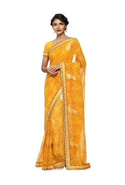 7547b115ac1e4 Soch Yellow Printed Saree With Blouse