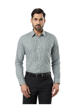 009f4705494 Raymond Medium Green Slim Fit Checks Cotton Shirt