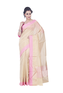 109887644006d5 Bunkar Beige   Pink Banarasi Saree With Blouse