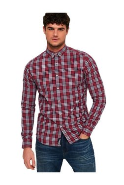 953bffc95efc17 Superdry Red Checks Straight Fit Cotton Shirt