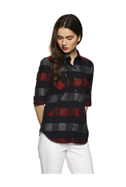 5df3819c86b Campus Sutra Black   Red Checks Shirt